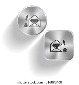 mail with feather and inkstandn . Vector set steel buttons