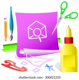 mail find. Paper template. Vector illustration.
