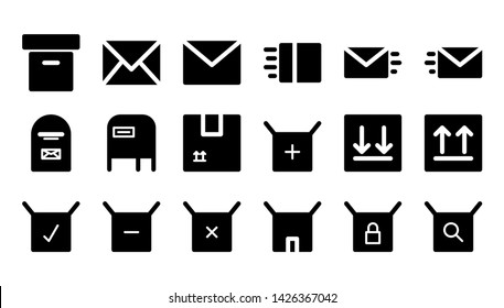 mail glyph icon symbol set