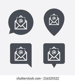 Mail icon. Envelope symbol. Message at sign. Mail navigation button. Map pointers information buttons. Speech bubbles with icons. Vector