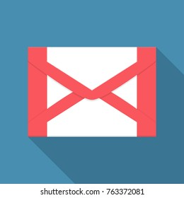 Mail icon in a flat design with long shadow. Vector illustration