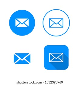 Mail icon, four variants, classic symbol, icon in circle, outlined symbol in circle, and flat icon with long shadow, vector illustration, blue color