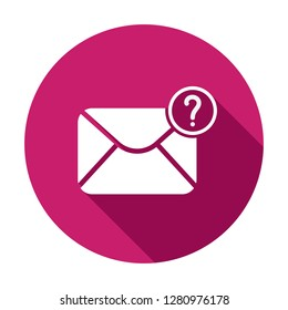 Mail icon with question mark. Mail icon and help, how to, info, query symbol. Vector icon