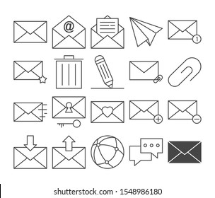 Mail icon set. Collection of line art message symbols. Email correspondence, button sign. Letter in the envelope, spam and newsletter. Isolated vector website symbol.