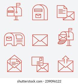 Mail icon set, thin line style, flat design
