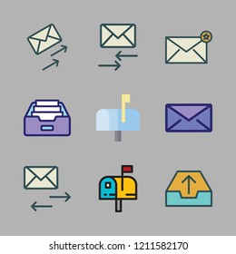 mail icon set. vector set about envelope, mailing, email and mailbox icons set.