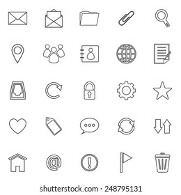 Mail line icons on white background