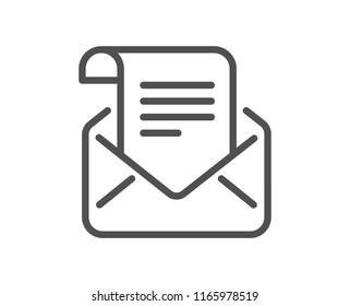 Mail newsletter line icon. Read Message correspondence sign. E-mail symbol. Quality design element. Classic style mail. Editable stroke. Vector