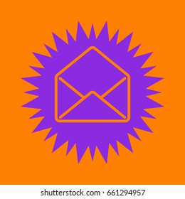 mail open icon. Violet spiny circle with hole as icon on orange background.