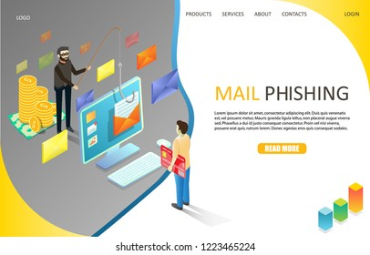 Mail phishing landing page website template. Vector isometric illustration of cyber thief hacking email message or personal information from desktop using fishing rod and hook. Computer hacking.