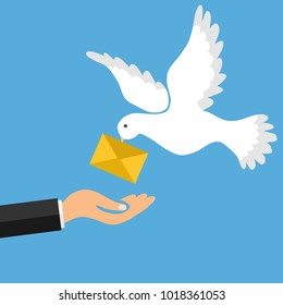 The mail pigeon brings a letter. Golub brought the letter into the man's hand. The concept of receiving mail. Flat design, vector illustration, vector.