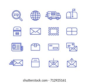Mail and postal service icon set. Fast delivery transporting documents and small packages. Post and mail icons.