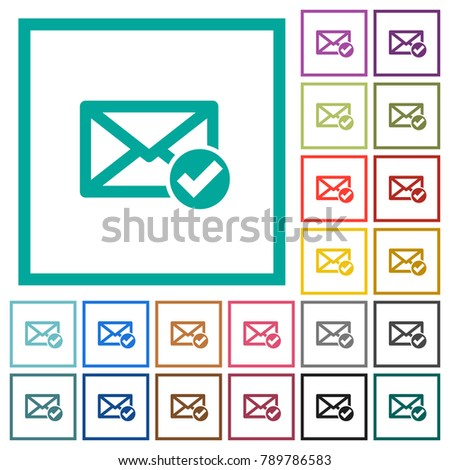 Mail Read Flat Color Icons Quadrant Stock Vector (Royalty