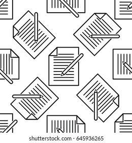 Mail seamless pattern in outline style.