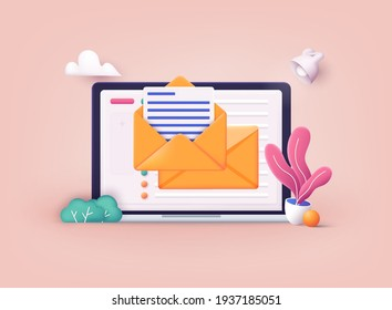Mail service concept. Laptop with open pages. 3D Web Vector Illustrations.