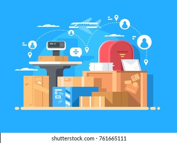Mail service. Sending letters and parcels around world. Vector illustration