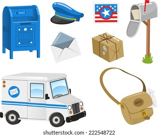 Mail Set, Post Box, Postal Stamp, Envelope, Package, Bag, Van. Vector illustration cartoon.