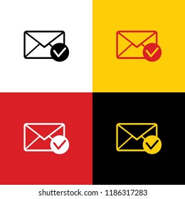 Mail sign illustration with allow mark. Vector. Icons of german flag on corresponding colors as background.