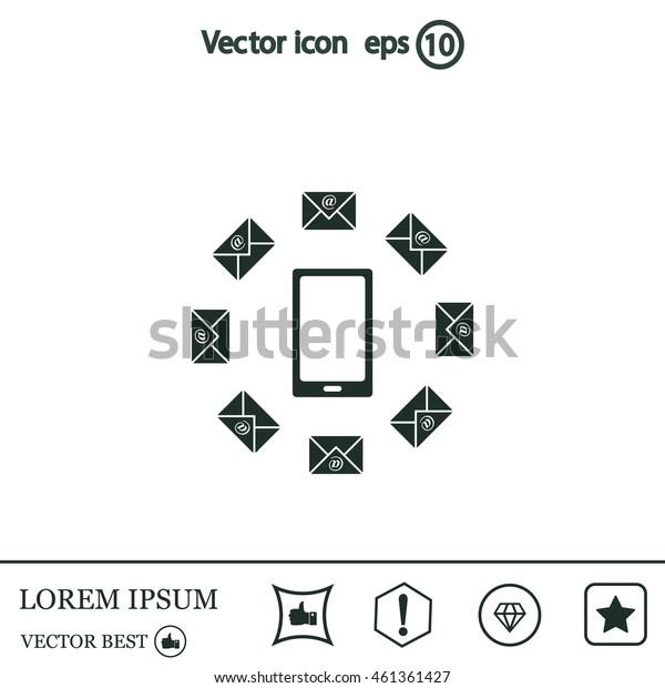 mail smartphone, vector illustration