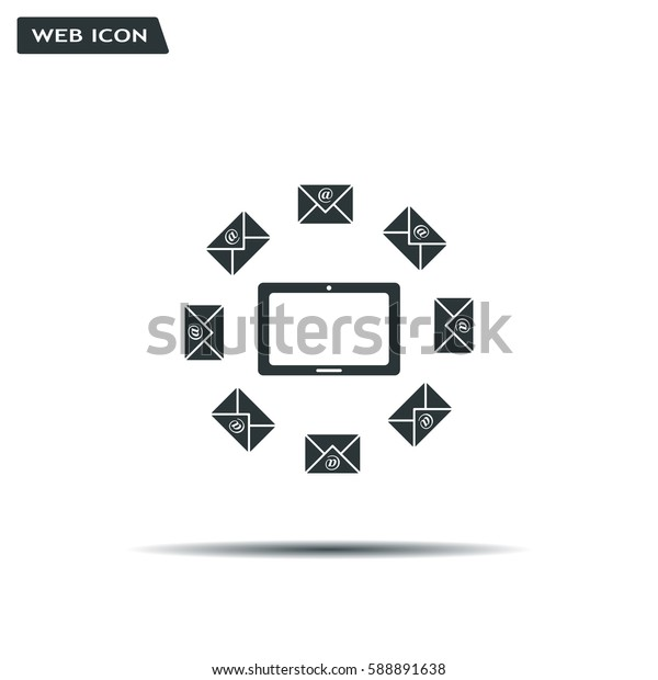 mail tablet, vector illustration