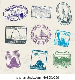 Mail travel stamps with USA city symbols and famous monuments