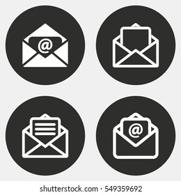 Mail vector icons set. White illustration isolated for graphic and web design.