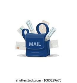 Mailbag of postman with mail cartoon icon. Blue bag of mailman with letter envelope, newspaper, magazine and copy space on front side for postal service and post delivery design