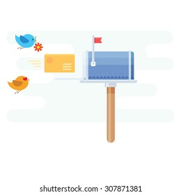 Mailbox concept with letter and bird flying