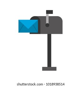 mailbox with envelope mail isolated icon
