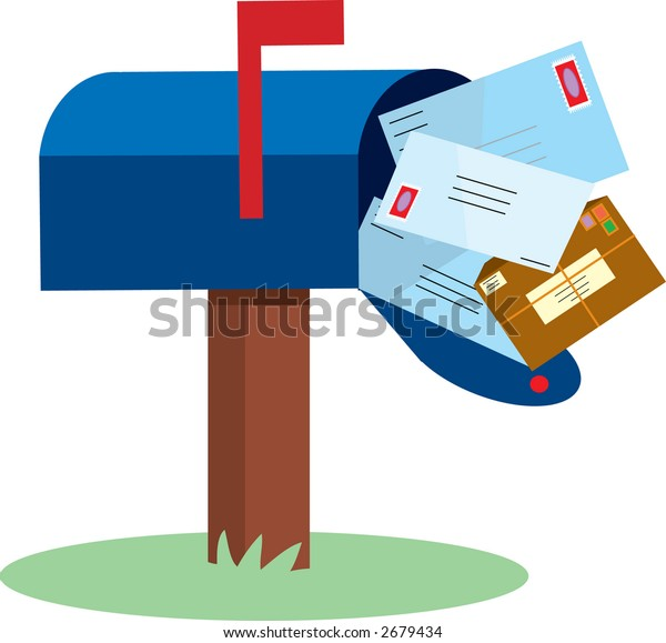 Mailbox full of mail with red flap up
