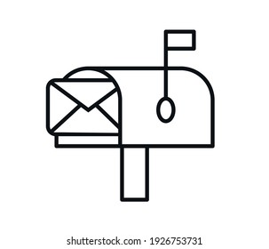 Mailbox icon, letter and mail, mailbox sign, vector graphics on a white background.