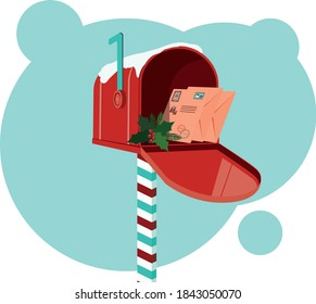 Mailbox with letters for Santa. Classic decorative Christmas red box.