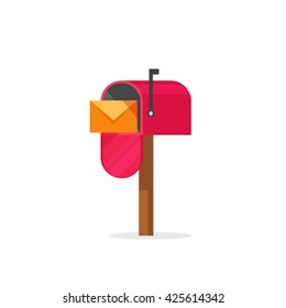 Mailbox vector illustration isolated on white, flat post office box, red mail box cartoon icon