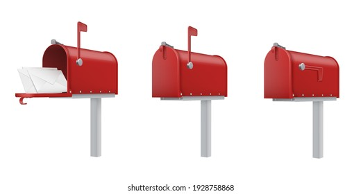 Mailboxes open, closed, with letters red realistic templates set. Outdoor drop boxes, street postboxes, letterboxes. Vector post collection illustration isolated on white background.