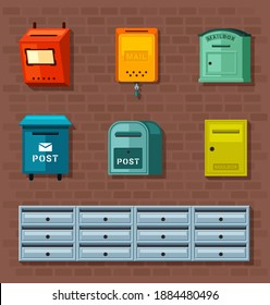 Mailboxes set. Red container for paper correspondence green boxes for receiving and sending letters numerous metal closed sections individual for each apartment. Cartoon information vector.