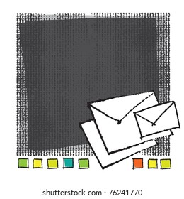 Mail-envelope icons on artistic painterly background, chalk technique, grunge vector style