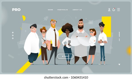 Main Abstract Web Page with Cartoon Business Characters.
