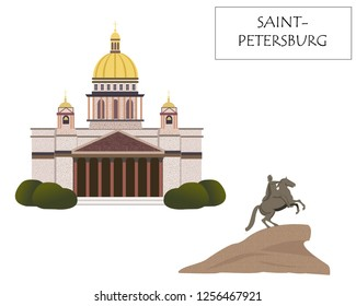 The main attractions of St. Petersburg: the monument of the horseman and the Christian cathedral. Modern flat illustration