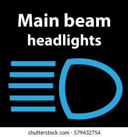 Main beam headlights icon, vector illustration dtc code obd error dasboard sign