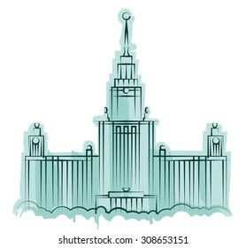 The main building of Moscow State University. Vector illustration.
