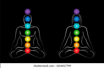 Main chakras - meditation couple with colored chakras - outline illustration of man and woman on black background.