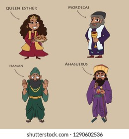main characters from the book of esther, funny colorful cartoon vector set