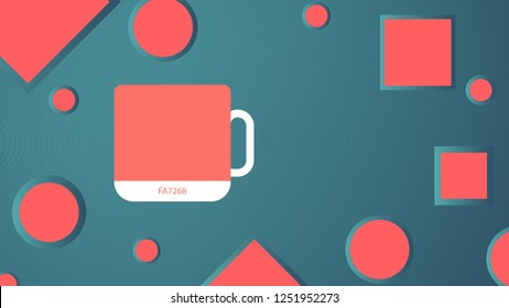 The main color of the year 2019 - Living Coral. Swatch of trend colors. Cup in a cheerful shade, soft and warm. Mockup. Vector illustration. EPS 10