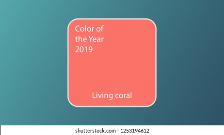 Main color of the year 2019 Living Coral. Swatch trend color for fashion industry cheerful shade soft and warm inspirational for seasonal backgrounds projects. Mockup. Vector illustration EPS 10