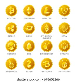 Main cryptocurrency coin signs vector set in flat style