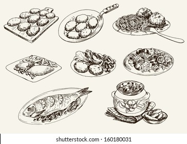 main dishes. set of vector sketches