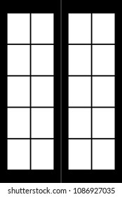Main door isolated image vector panels black and white. Architecture and interior element. Design print for concept, idea, background, backdrop. Set 1