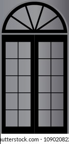 Main door vector design. Element of architecture and interior. Square and arc black on grey background. Design print for wallpaper, background, backdrop, festival. Set 1