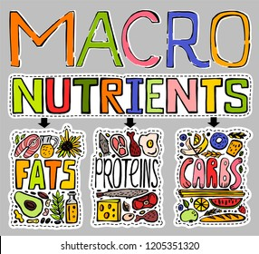 Main food groups - macronutrients. Carbohydrates, fats and proteins in doodle style. Dieting, healthcare, eutrophy concept. Vector illustration isolated on a light grey background. Landscape poster.
