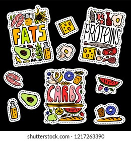 Main food groups - macronutrients. Carbohydrates, fats and proteins in doodle style. Dieting, healthcare and eutrophy concept. Vector illustration isolated on a black background. Stickers and patches.